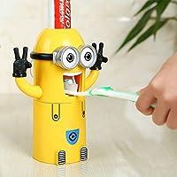 Dispensador de pasta de dientes Discountseller Minions y juego de soportes para cepillos de dientes, exprimidor de pasta de dientes