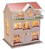 Puppenhaus Dollhouse Bausatz aus Holz mit kompletter Einrichtung incl. Beleuchtung