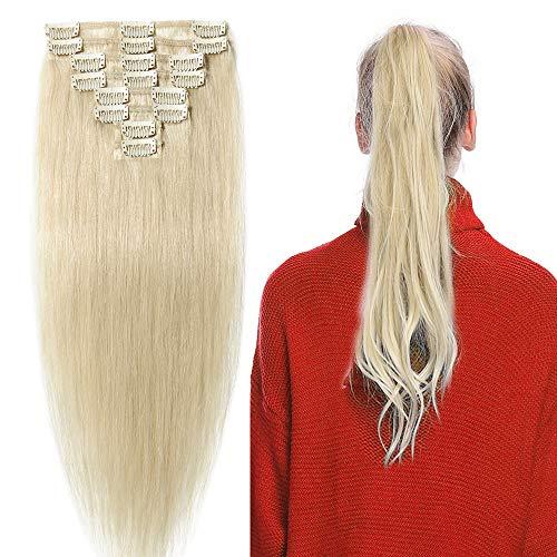 Clip In Extensions Echthaar 40cm - Remy Haarverlängerung 8 Tressen 65g - (#60 Platinum Blonde)