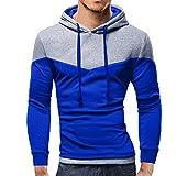 TianWlio Pullover Winter Männer Herren Herbst Winter Patchwork Langarm Kapuzenpulli Outwear Top Bluse Blau XL