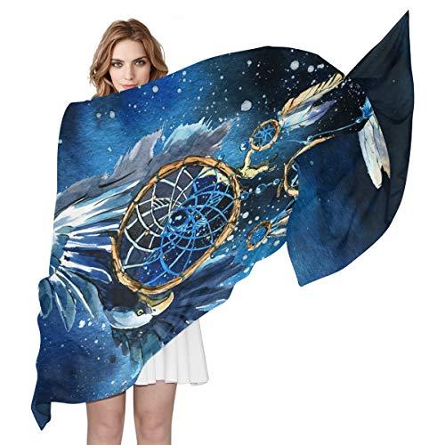 QMIN Seidenschal Aquarell Galaxy Traumfänger, Adler, modisch, lang, leicht, Schal, Tidy Wrap Scarves für Frauen Mädchen Damen -