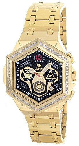 Aqua Master hombres de diamante bisel esfera negra tono dorado reloj cronógrafo W356