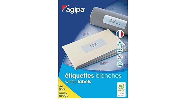Multi-usage Coins Droit Permanent Blanc AGIPA Lot de 5 Boites 1500 /étiquettes 70x50,8 mm 15 sur 100F A4