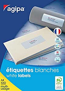 Agipa Boîte de 2100 étiquettes blanches pour imprimante jet d'encre/ laser/copieur 63,5x38,1