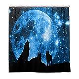 CPYang Duschvorhänge Wolf Galaxy Stern Mond Wasserdicht Schimmelresistent Bad Vorhang Badezimmer Home Decor 168 x 182 cm mit 12 Haken