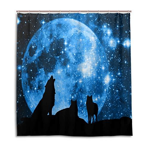 CPYang Duschvorhänge Wolf Galaxy Stern Mond Wasserdicht Schimmelresistent Bad Vorhang Badezimmer Home Decor 168 x 182 cm mit 12 Haken -