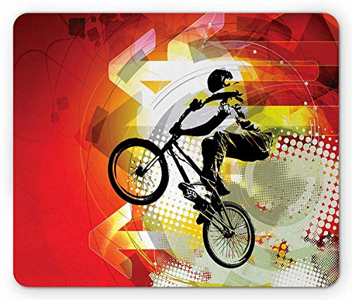 Dirt Bike Mouse Pad, BMX Rider Silhouette on Colorful Background with Halftone Effect Extreme Sports Gaming Mousepad Office Mouse Mat Multicolor