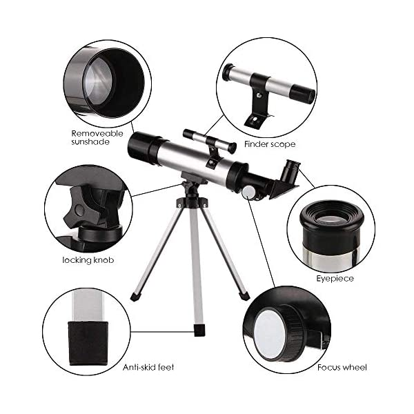 Astronomical Telescope for Kids, 90X Portable Ultra-Clear Beginner Telescopes with Tripod 360X50mm for Sky/Star/Moon/Birds Watching - Best Gift for Kids, Students, Astronomy Beginners