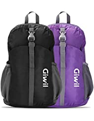 Giwil 20L Mochila Ultraligera Plegable Bolsa de Viaje, Ideal para Senderismo, Compra, Ciclismo y Escalada Nylon Impermeable (negro)