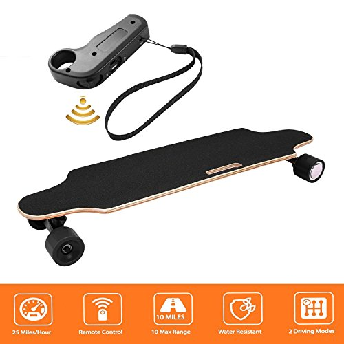 ZEARO 250W Electric Skateboard Longboard with Remote Controller, Skateboard for Kids Age 8+, Speed 10-20km/h, 24V 2200mah Lithium Battery (Black_5287)
