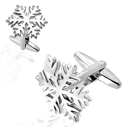 Bouton de manchette crystal de neige