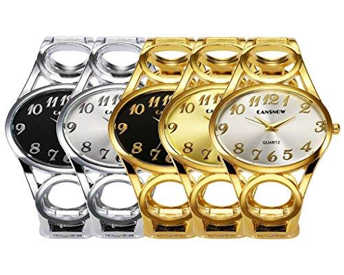 JSDDE Uhren,Damen Armbanduhr Chic Manschette Damenuhr Oval Spangenuhr Frau Analog Quarz Uhr Armbanduhr,Schwarz-Silber - 6
