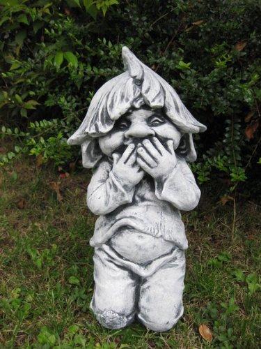Lustiger Gnom ,,ich sage nichts'' Troll Gartenfigur Stein Frostfest