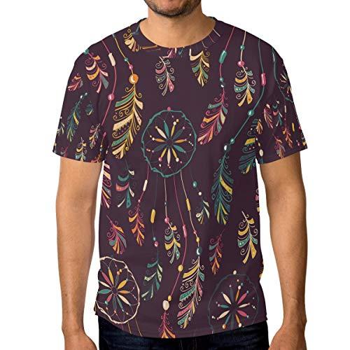 MALPLENA - Camiseta de Manga Corta para Hombre, diseño de atrapasueños 1 3XL