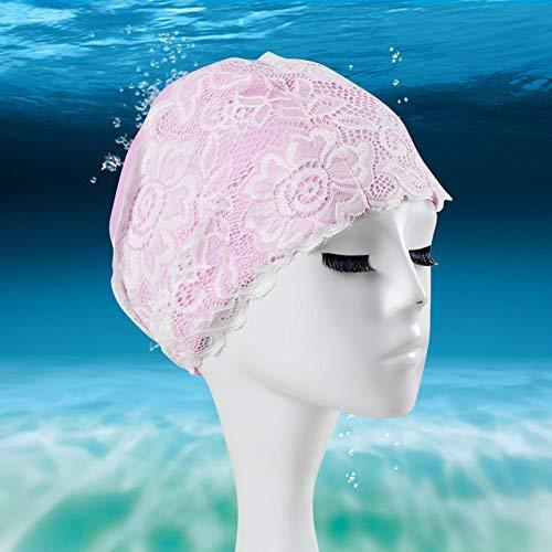 ZLJ Damen Badekappe, Erwachsene Länge Wasserdichte PU Lace Flower Badekappe für Lange Haare und Hält Das Haar Trocken ¡, Rose, Einheitsgröße
