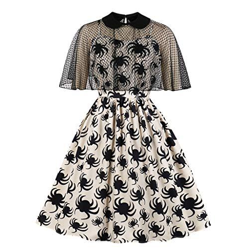 Damen Halloween Große Größen Kleid, Vintage A-Line Drucken Kostüm Kleid Tops