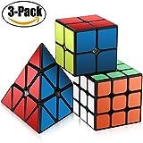 Ensemble Speed Cube,Roxenda Pyraminx 2x2x2 3x3x3 Vitesse Cube de Magique; Autocollant Spin Lisse Super Durable avec des Couleurs Vives pour; Facile à Tourner et à Lisser
