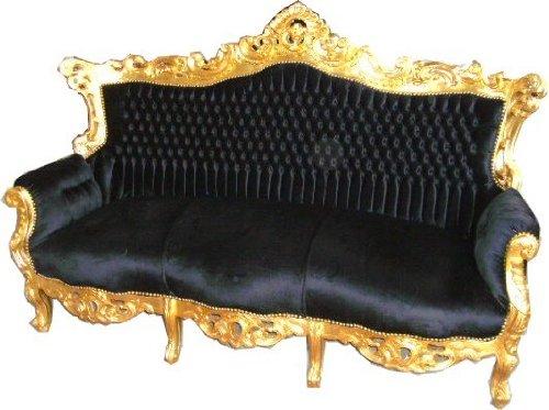 Barock Sofa Master Schwarz/Gold