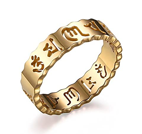 Vnox Men's Women's Stainless Steel Hollow Out Buddhist Om Mani Padme Hum Band 6 Mantra Ring Gold UK Size L