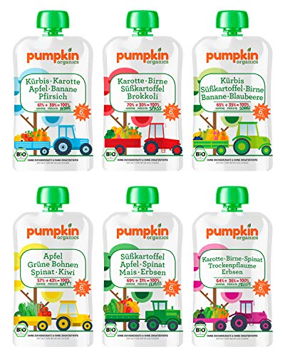 Bio Gemüse Quetschies - Pumpkin Organics ERSTE LIEBE (48 x 100g) + 2 Löffelaufsätze - Snacks für Babys ab 6. Monat