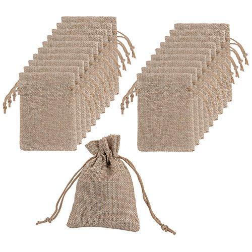 Jute Sack Beutel mit Drawstring Geschenksäckchen für Hochzeitsfeier und DIY Handwerk, 4,5 x 3,5 Zoll, 20 Paket (Drawstring Jute)