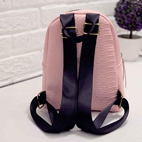BZLine® Frauen Leder Rucksäcke Schulranzen Travel Umhängetasche Rucksäcke, 24cm*20cm*10cm Pink
