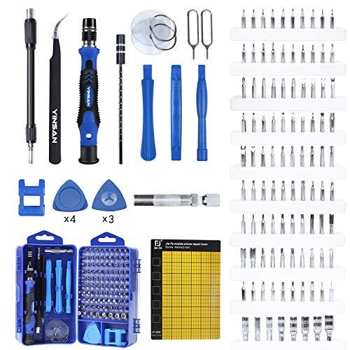 YINSAN 120 en 1 Tournevis Precision Kit Tools, Portable Jeu de Tournevis de Magnétique pour Macbook, iPhone, Réparation, Lunettes,Bricolage,Montre,Smartphone et Autres Aappareils électroniques (Bleu)