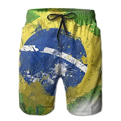 Bee Brown Pantalon de Maillot de Bain à Bretelles de Plage Estival pour Hommes, Drapeau brésil, Drapeau à Graffiti et à séchage Rapide