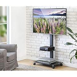 FITUEYES Chariot Meuble TV avec Roulette Support Télé Pied Pivotant pour Ecran de 32 à 65 Pouces LED LCD Plasma avec 2 Etagères pour Ranger AV Equipement TT206505GB