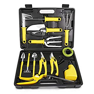MOSFiATA Garden Tool Set, Gardening Tool Set 13 Pcs Stainless Steel Garden Tools with Carrying Case Include Pruner, Mini Rake, Big and Small Shovel, Sprayer, Weeder, Scissor etc. for Gardener