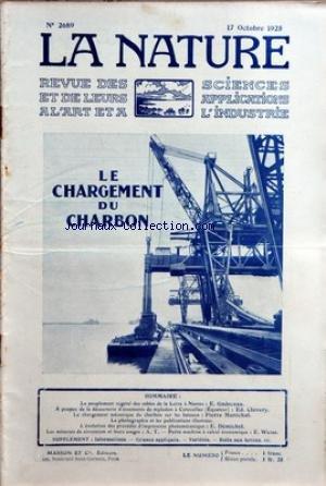 NATURE (LA) [No 2689] du 17/10/1925 - LE PEUPLEMENT VEGETAL DES SABLES DE LA LOIRE A NANTES PAR GADECEAU - LA DECOUVERTE D'OSSEMENTS DE MYLODON A COTOCOLLAO PAR CLAVERY - LE CHARBON SUR LES BATEAUX PAR MARECHAL - LA PHOTO ET LES PUBLICATION ILLUSTREES - LES PROCEDES D'IMPRESSION PHOTOMECANIQUE PAR DEMICHEL - E. WEISS