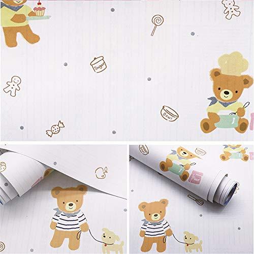 lsaiyy Umweltschutz PVC Selbstklebende Tapete Cartoon Schlafzimmer Kinderzimmer Junge Mädchen Tapete klebrige Aufkleber wasserdichte Tapete-45CMX10M