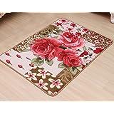 outgeek estilo europeo de área alfombra alfombra de área Vintage Rojo Rose dormitorio alfombra