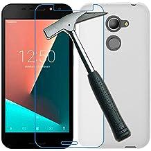 OVIphone Funda Gel TPU + Cristal Templado Para VODAFONE SMART N8 (NO COMPATIBLE CON SMART V8, SMART E8) (Color Translucido / Transparente)