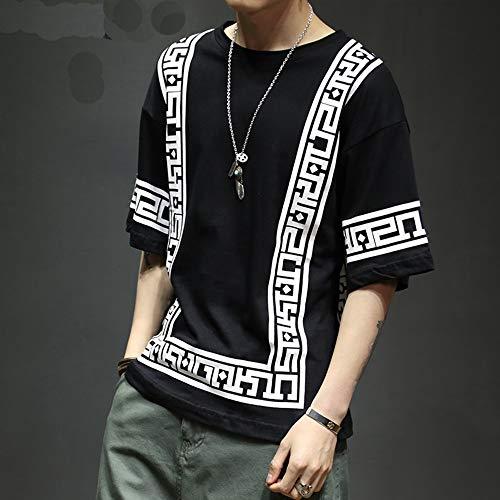WARM ROOM T-Shirt Hemdhülse Hip-Hop-Hemdmänner Sommer der weißen T-Shirtmänner der lustigen Männer Sommer 5XL,Black,3XL (Hop-t-shirt Hip)