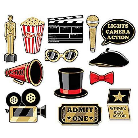 13 Piece Hollywood At The Movies Glitter Photo Booth Props