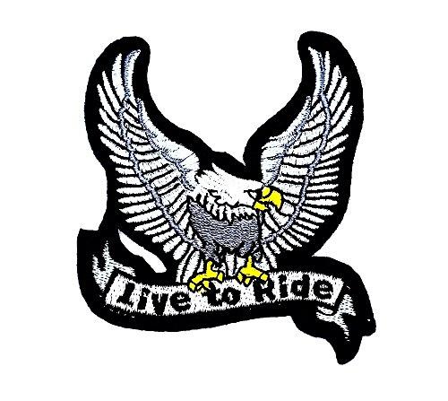 rabana weiß Eagle Live to ride Hawk Bird Flying Rider Biker-Biker-Patch-Kinder Cute Animal Patch für Heimwerker-Applikation Eisen auf Patch T Shirt Patch Sew Iron on gesticktes Badge Schild (Kinder Bird Kostüm Big)