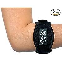 Simien Sports Ellenbogen-Bandage für Tennisspieler, 2Stück–Schmerzlinderung für Ellenbogen von Tennisspielern und Golfern–Unterarm-Korsett und Ellenbogenbandage mit Kompressionseinlage–Einheitsgröße