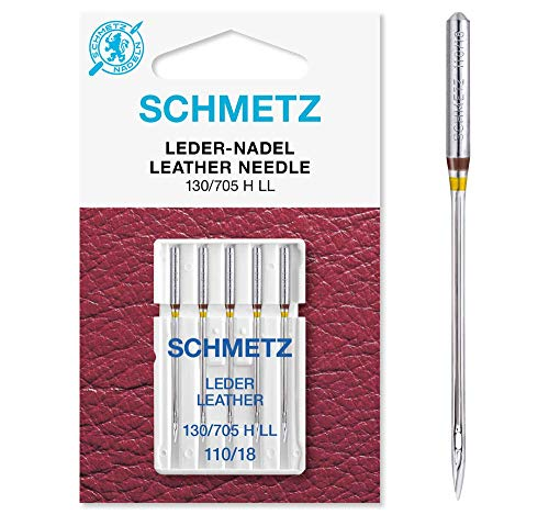 SCHMETZ Nähmaschinennadeln 5 Leder-Nadeln | 130/705 H LL | Nadeldicke: 110/18 | geeignet für alle gängige Haushalts-Nähmaschinen -