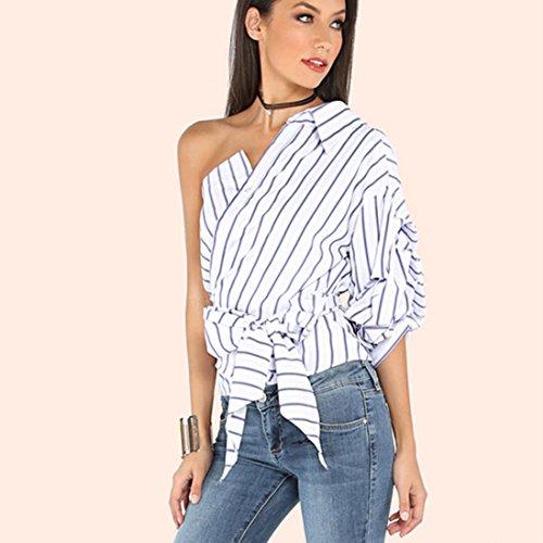 Vovotrade Femmes Blouses à Rayures Une épaule T-shirts Bowknot Slim Waist Tops Half Puff Sleeve Blanc