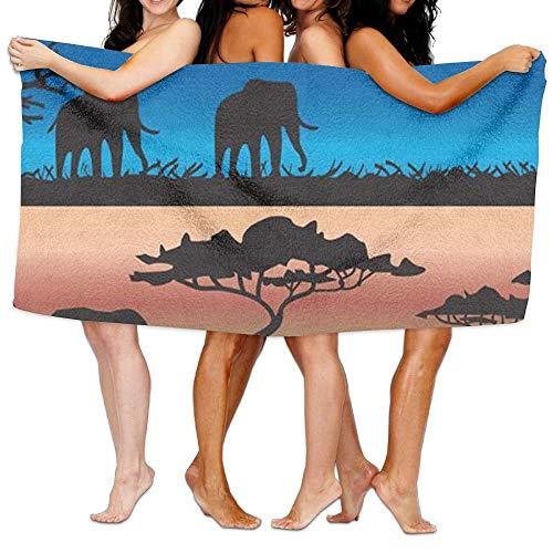 False warm warm Silhouettes with African Wild Animals and Acacia Trees Bath Towel Adult Microfiber Towel 31 X 51 Inch Bath Sheet