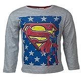 DC Comics Superman Kinder Langarmshirt aus 100% Jersey Baumwolle, Justice League Superhelden Langarm T-Shirt für Jungen - Shirt Farbe: Grau, Gr. 98