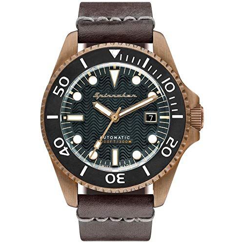 SPINNAKER Men's Tesei 42mm Brown Leather Band Metal Case Automatic Green Dial Analog Watch SP-5060-02
