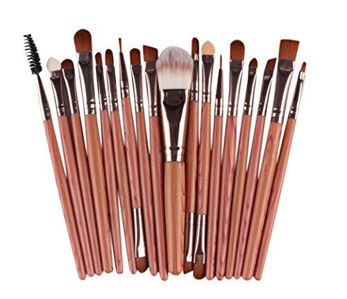 Saingace 20 pcs Pinceaux de Maquillage Brosse Fard à Paupières Eyeliner Brosse Sourcils Brosses à Mascara Joue Ensembles de Brosses/Marron