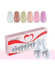 Vishine Vernis à Ongles Gel Soak Off Semi Permanente Gelpolish Lot 6 x 8ml Cadeau Kit C049