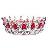 Santfe Couronne de Luxe Retro Tiare Diadème de Strass Mariage Bijoux de Cheveux Mariée pour Mariage, Pageants, Princesse Parties, Anniversaire - Multicolor (Rouge)