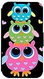 FioMi Flip Cover Hülle Samsung Galaxy S4 Mini Motiv 286 Eulen Blau Grün Pink Handy Tasche Etui Schutzhülle Flipcover Case Wallet Bookflip Buchflip