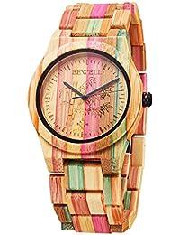 Reloj de las mujeres colorido madera de bambú reloj para los hombres movimiento de cuarzo analógico reloj de pulsera