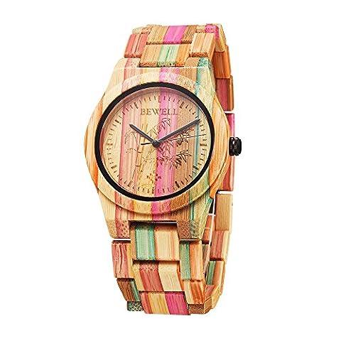 Bewell W105DL Frauen Bunte Bambus Holz Armbanduhren Hypoallergene Natur Holz Quarz Analog Uhr (gemischte Farbe 2)
