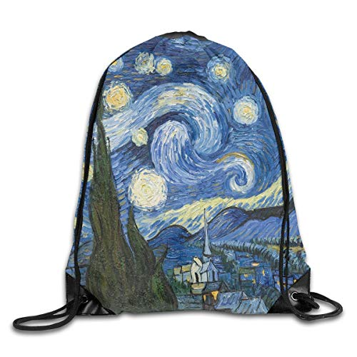 55a68a9bd9f2c Funny shirt Drawstring Backpack Gym Bag Travel Backpack Vincent Van Gogh  Art Oil Painting Starry Night Small